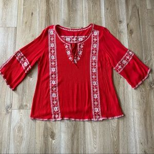 Bohemian Red Embroidered Tunic Top Size Large